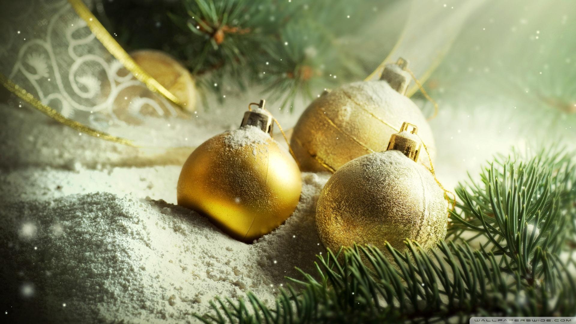 golden balls on snow