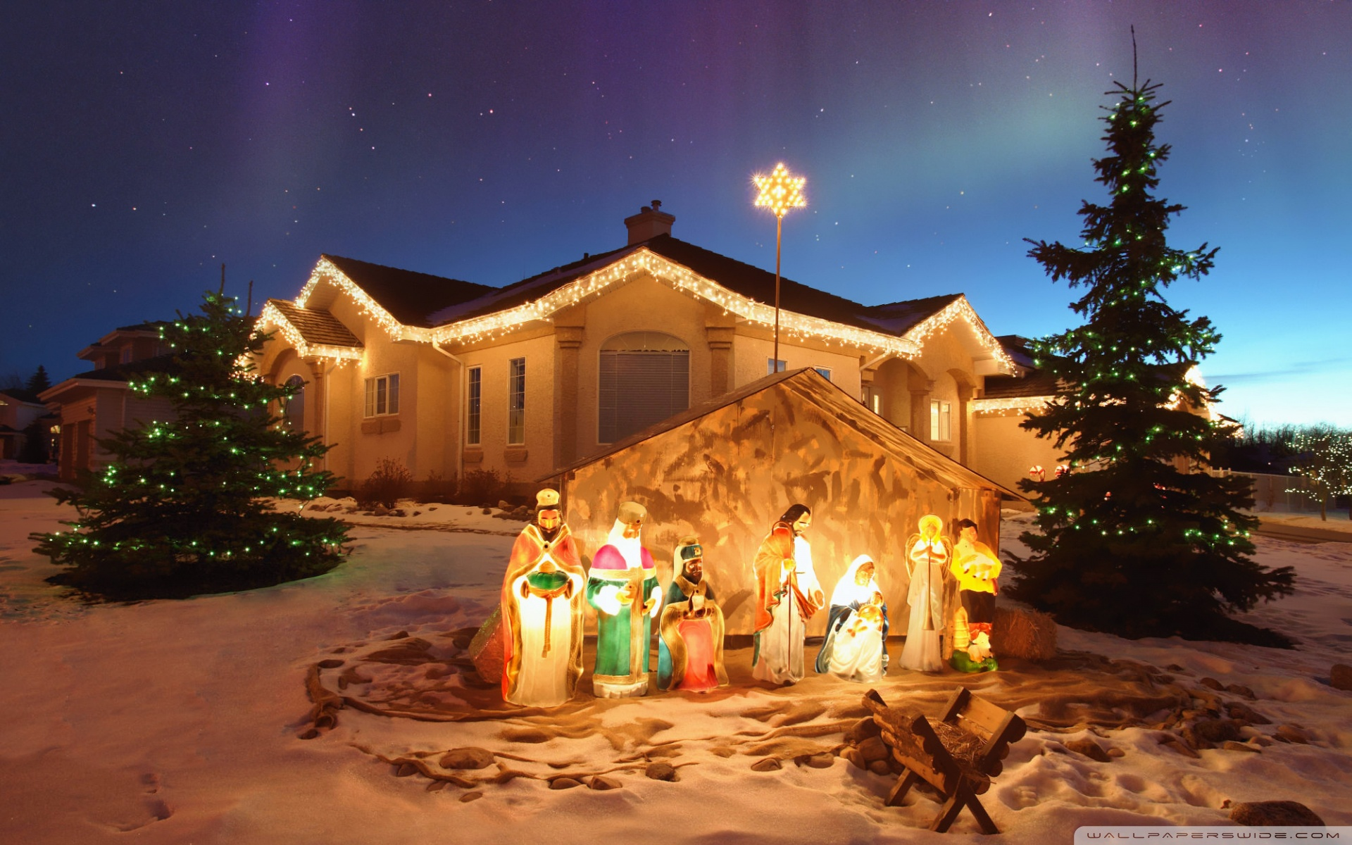 outdoor christmas nativity scene wallpaper