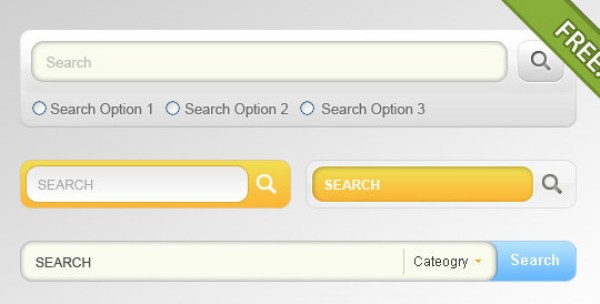 4 Designs for Search Input Field : Search Box PSD Designs