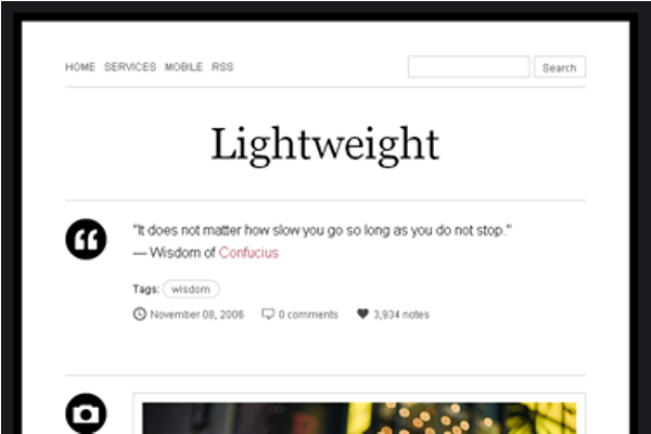 lightweight Best Free Tumblr Themes