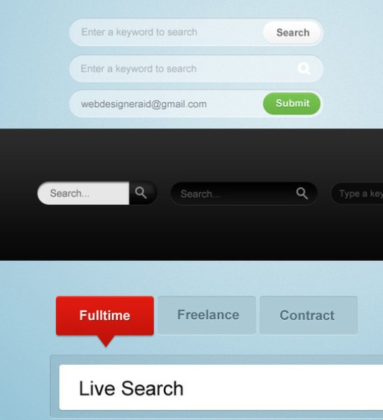 Search & Email Input Text PSD